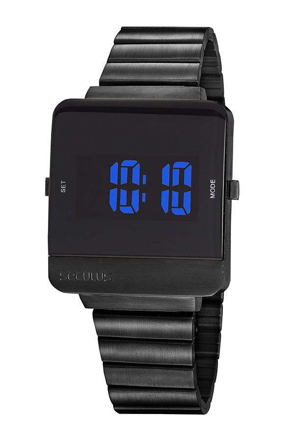 Relógio Masculino Seculus Pulseira de Aço Preta Fundo Lcd Negativo 20871GPSVPA3