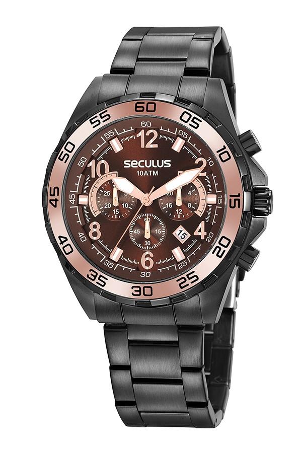 Relógio Masculino Seculus Pulseira de Aço Preta Fundo Marrom 20794GPSVPA1