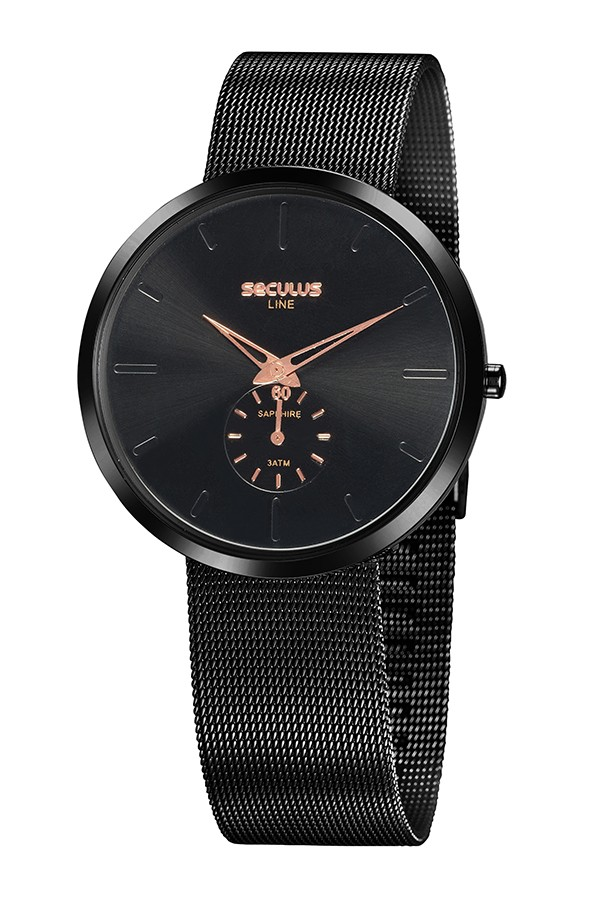 Relógio Masculino Seculus Pulseira de Aço Preta Fundo Preto