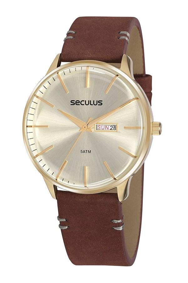 Relógio Masculino Seculus Pulseira de Couro legítimo Marrom Fundo Champagne 20879GPSVDC1