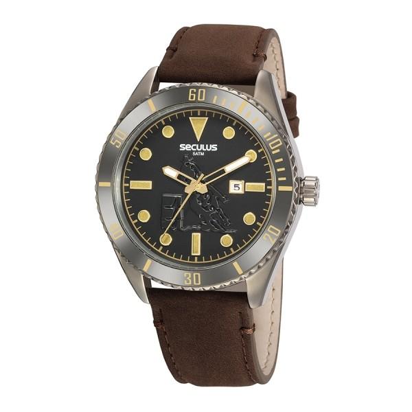 Relógio Masculino Seculus Pulseira de Couro legítimo Marrom Fundo Preto 20830GPSVSC2