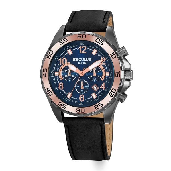 Relógio Masculino Seculus Pulseira de Couro legítimo Preta Fundo Azul 20794GPSVSC2