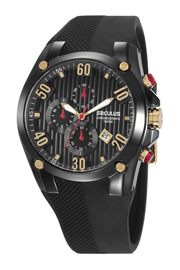 Relógio Masculino Seculus Pulseira de Silicone Preta Fundo Preto 28207GPSVPU3