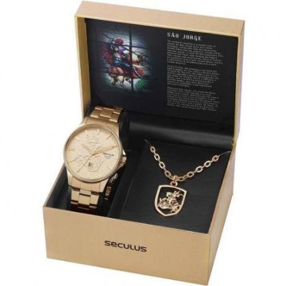 Kit Relógio Masculino Seculus Aço Dourada Champagne e Pingente São Jorge 28933GPSKDA1K1