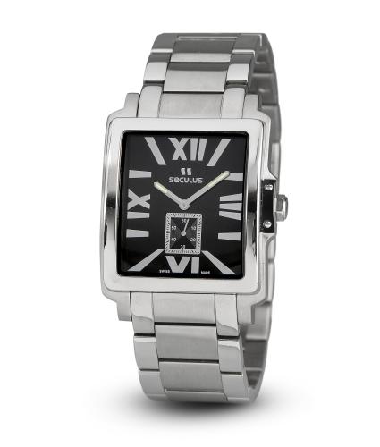 Relógio Masculino Seculus Swiss Made Pulseira de  Aço Coleção 4492 449211069MSSB