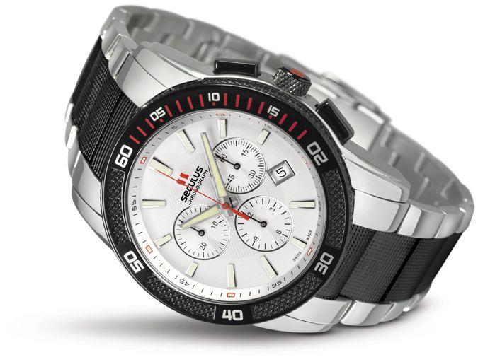 Relógio Masculino Seculus Swiss Made 44952503DM2TBW Pulseira de aço e vidro de Safira com 02 anos de Garantia