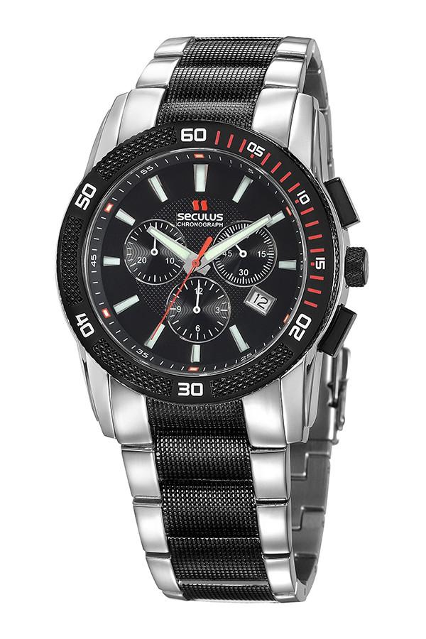 Relógio Masculino Seculus Swiss Made 44952503DM2TSS Pulseira de aço e vidro de Safira com 02 anos de Garantia