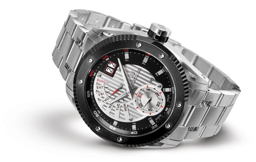 Relógio Masculino Seculus Swiss Made 9535704PMSSBBW Pulseira de aço e vidro de Safira com 02 anos de Garantia