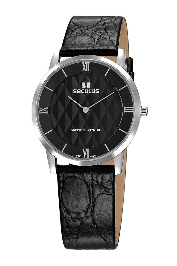 Relógio Masculino Seculus Swiss Made 1018G11062LBBR Pulseira de couro e vidro de Safira com 02 anos de Garantia