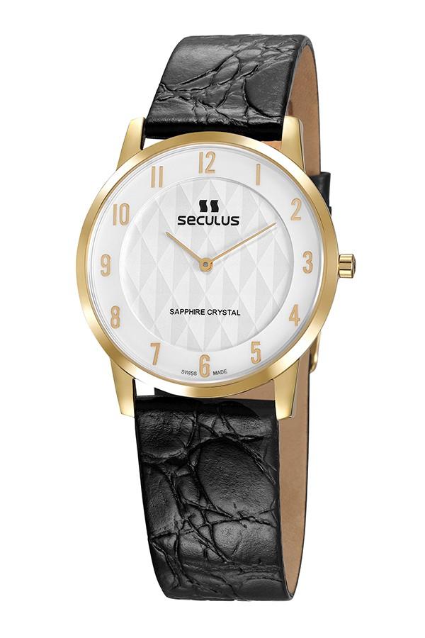 Relógio Masculino Seculus Swiss Made 1018G11062LBWA Pulseira de couro e vidro de Safira com 02 anos de Garantia