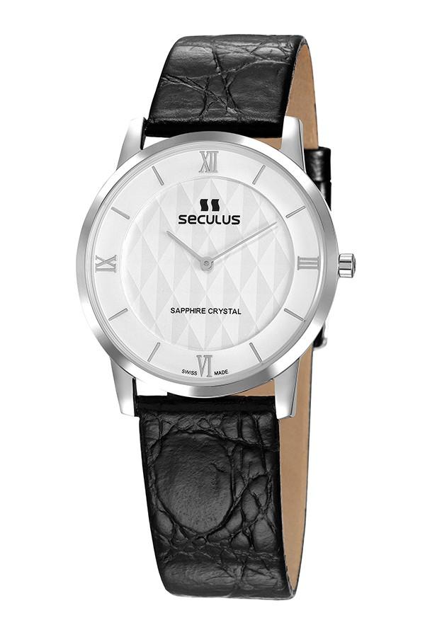 Relógio Masculino Seculus Swiss Made Pulseira de  Couro Coleção Flatline 1018G11062LSWR