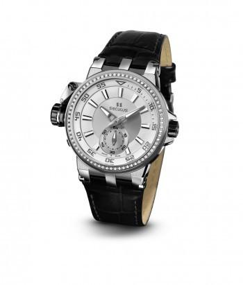 Relógio Masculino Seculus Swiss Made 17031069LBWAP Pulseira de couro e vidro de Safira com 02 anos de Garantia