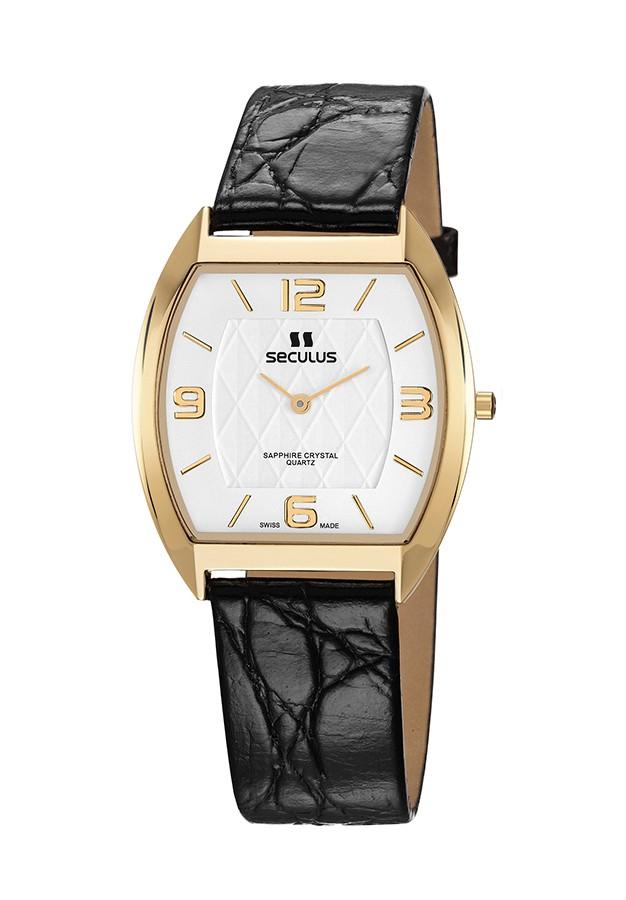 Relógio Masculino Seculus Swiss Made 44531106LBYWA Pulseira de couro e vidro de Safira com 02 anos de Garantia