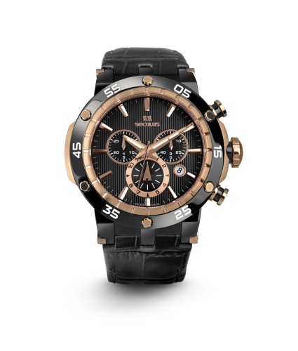 Relógio Masculino Seculus Swiss Made 4502503L2TBRBA Pulseira de couro e vidro de Safira com 02 anos de Garantia