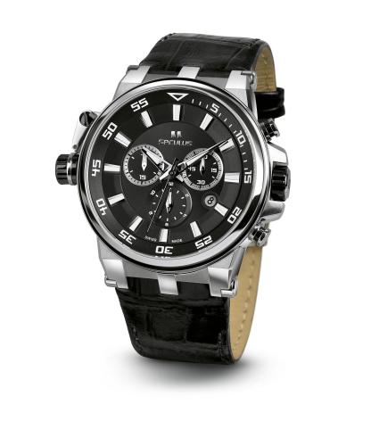 Relógio Masculino Seculus Swiss Made Pulseira de  Couro Coleção Premium 4510 45105503DLBSSB