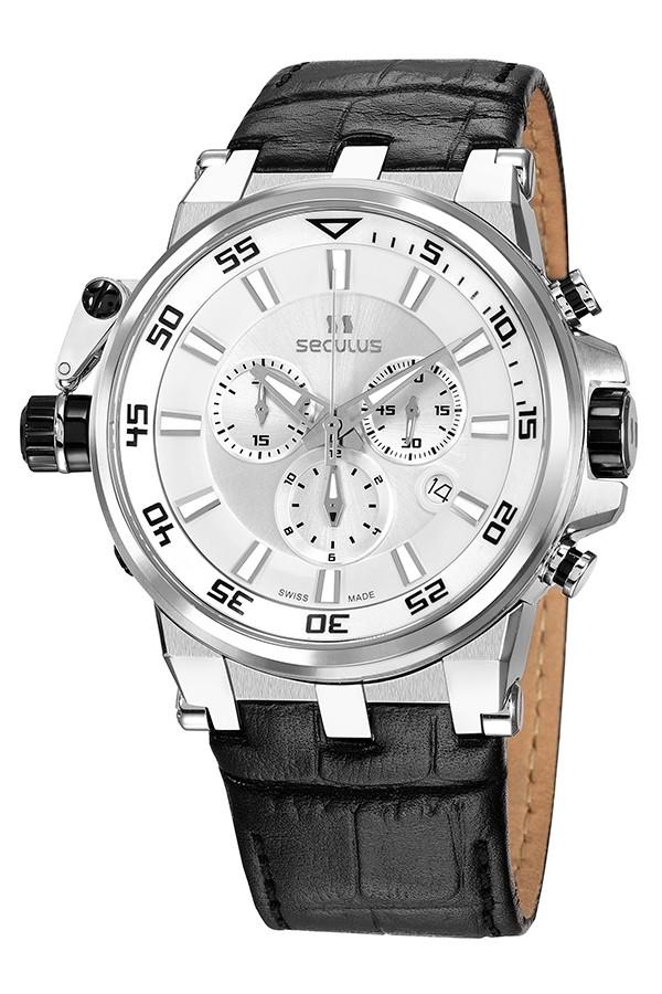 Relógio Masculino Seculus Swiss Made 45105503DLBWAP Pulseira de couro e vidro de Safira com 02 anos de Garantia