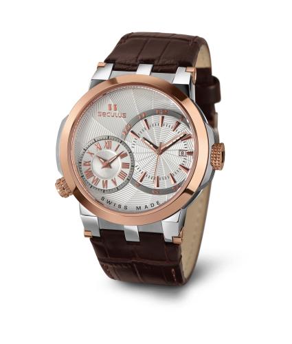 Relógio Masculino Seculus Swiss Made 4511775LBR2TRW Pulseira de couro e vidro de Safira com 02 anos de Garantia