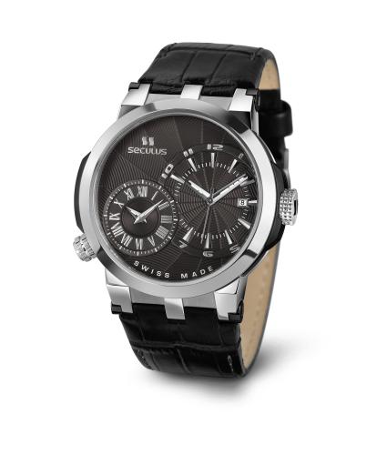 Relógio Masculino Seculus Swiss Made 4511775LBSSB Pulseira de couro e vidro de Safira com 02 anos de Garantia