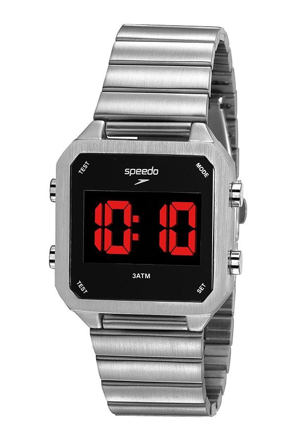 Relógio Masculino Speedo Pulseira de Aço Inoxidável Prata Fundo LCD Negativo 24874M0EVNE3