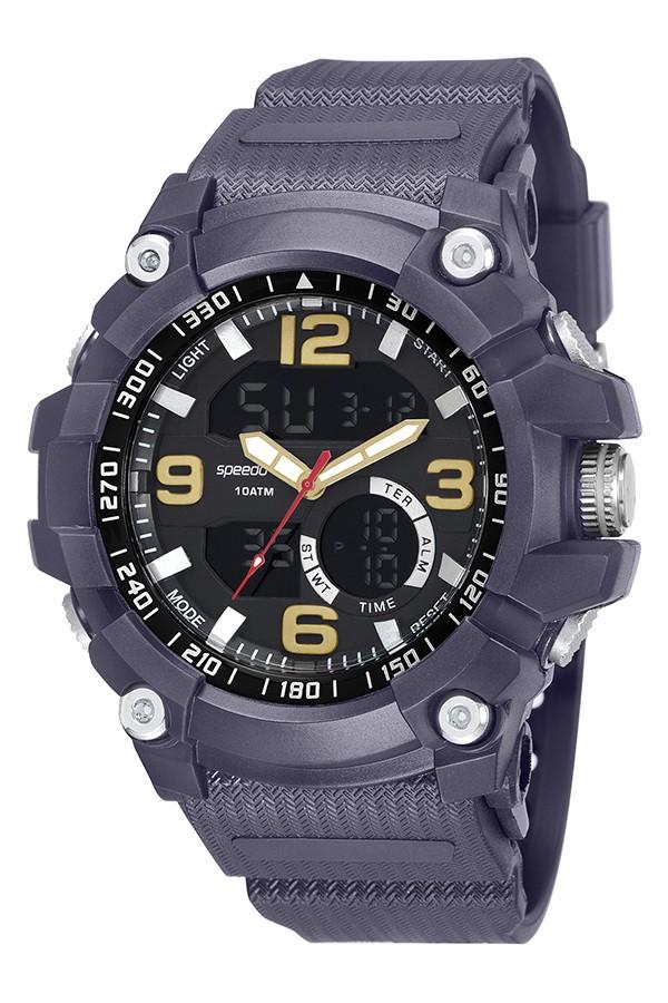 Relógio Masculino Speedo Pulseira de Poliuretano Azul Fundo LCD Negativo 81129G0EVNP7