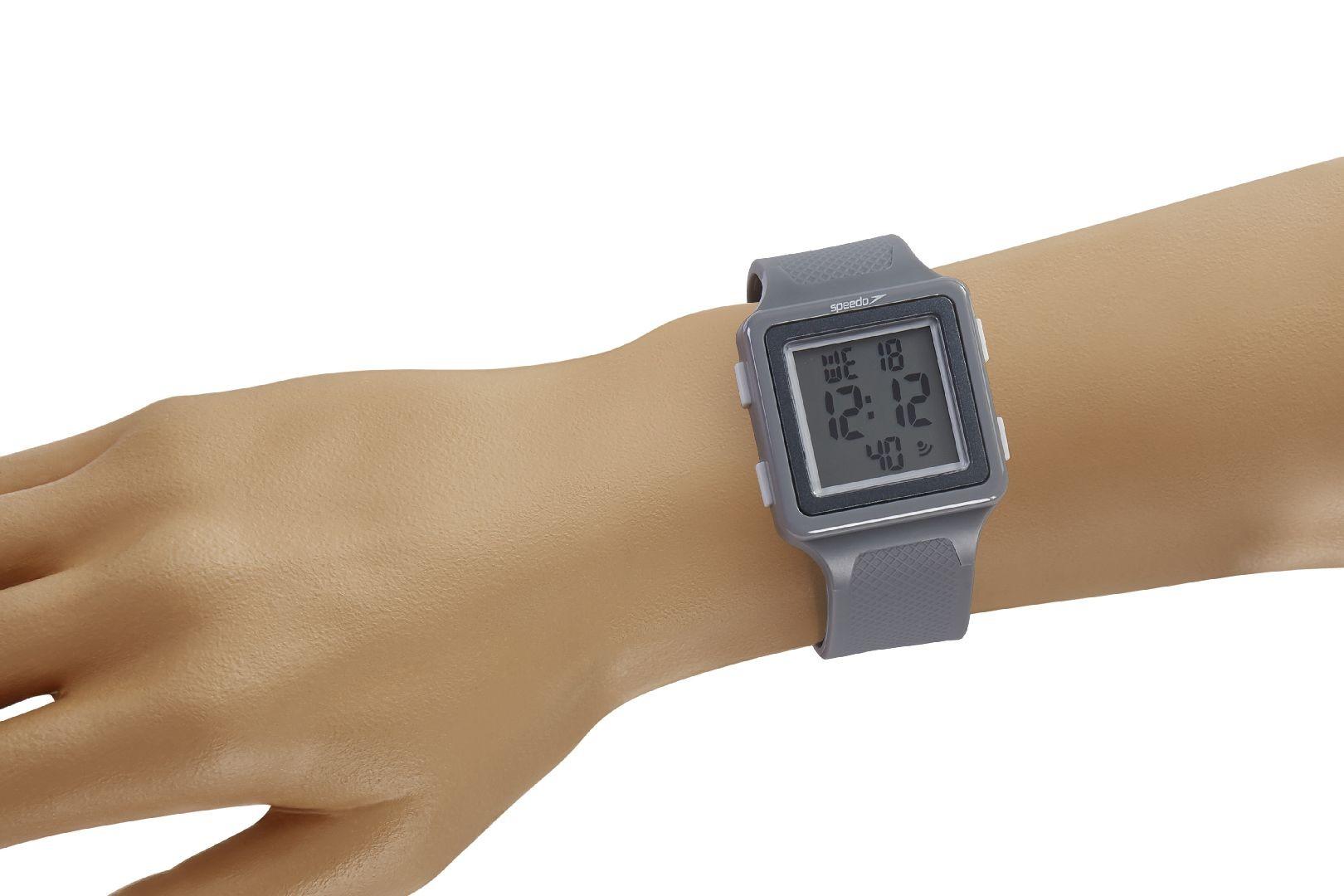 Relógio Masculino Speedo Pulseira de Poliuretano Cinza Fundo LCD Positivo 80650G0EVNP2