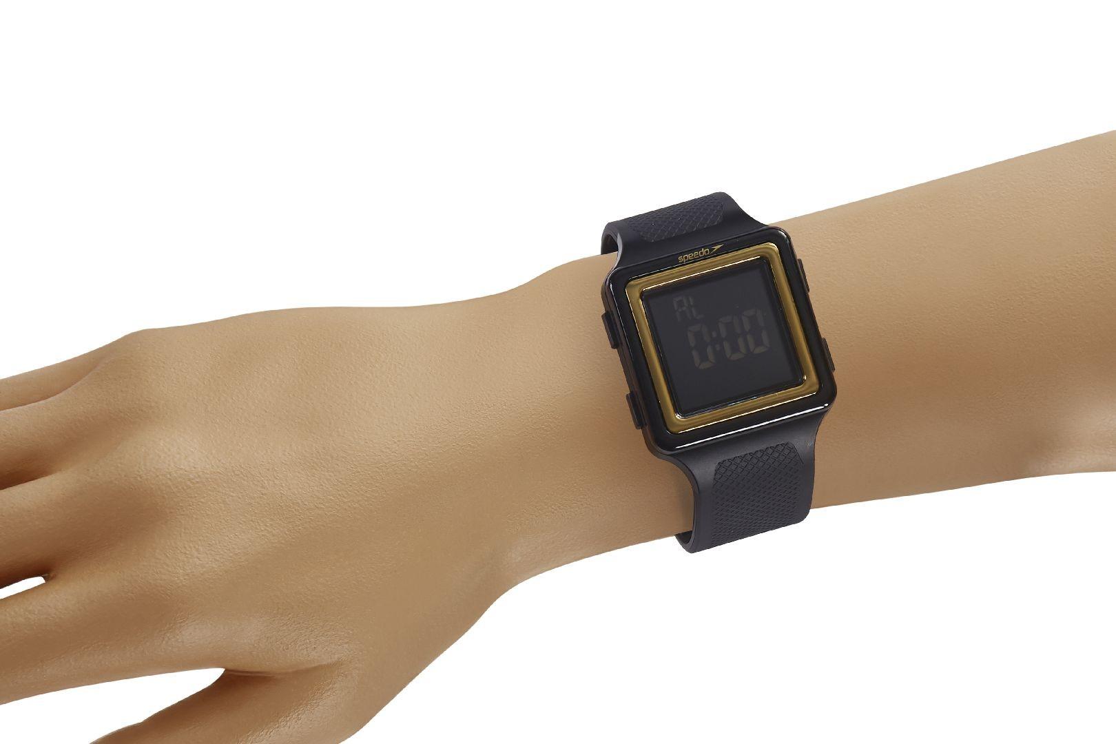 Relógio Masculino Speedo Pulseira de Poliuretano Preta Fundo LCD Negativo 80650G0EVNP1