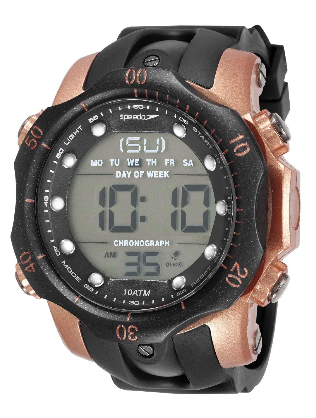 Relógio Masculino Speedo Pulseira de Poliuretano Preta Fundo LCD Positivo 11005G0EVNP2