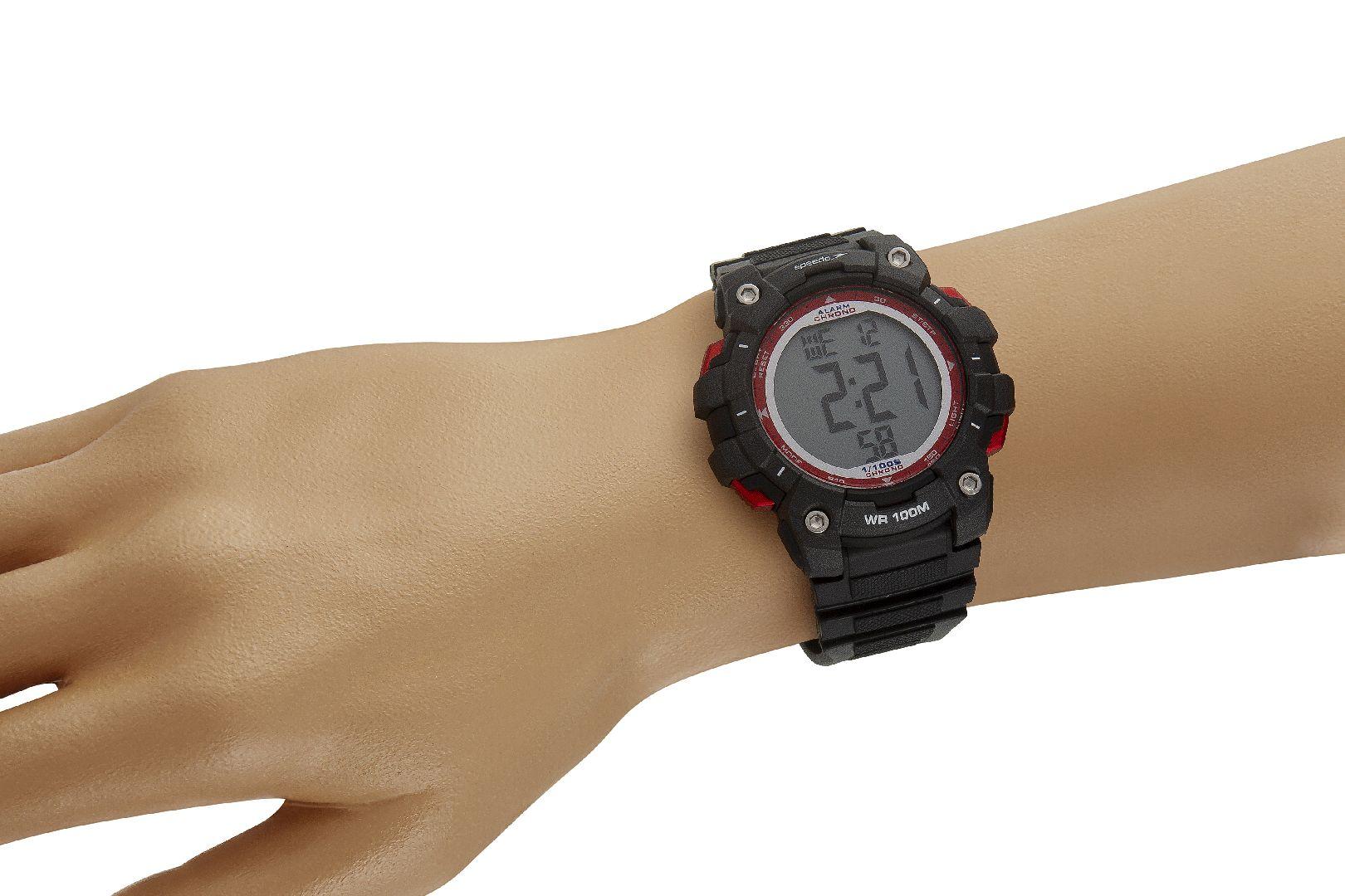 Relógio Masculino Speedo Pulseira de Poliuretano Preta Fundo LCD Positivo 80644G0EVNP1