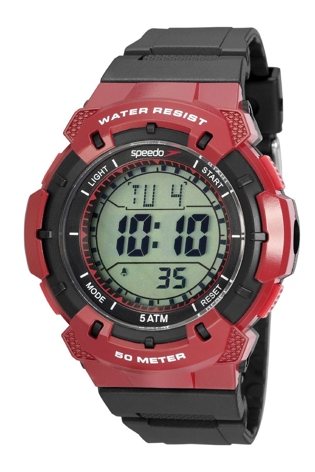 Relógio Masculino Speedo Pulseira de Poliuretano Preta Fundo LCD Positivo 81203G0EVNP2