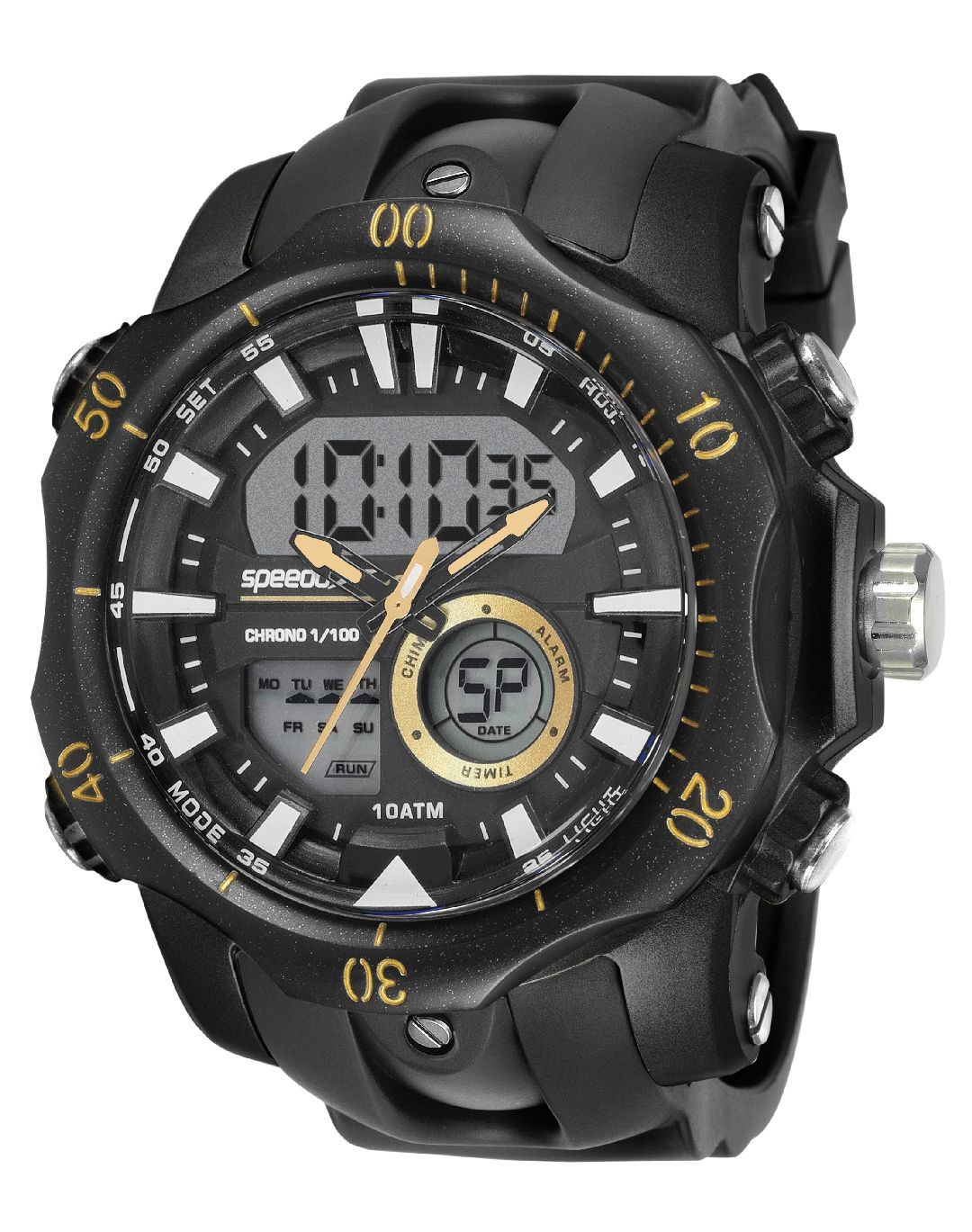 Relógio Masculino Speedo Pulseira de Poliuretano Preta Fundo Preto 11011G0EVNP3