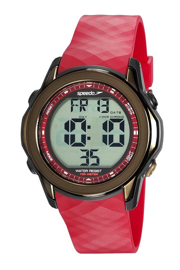 Relógio Masculino Speedo Pulseira de Poliuretano Vermelha Fundo LCD Positivo 80648G0EVNP2
