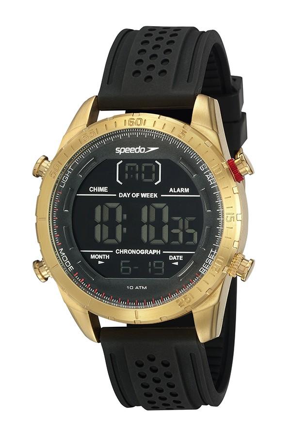 Relógio Masculino Speedo Pulseira de Silicone Preta Fundo LCD Negativo 15021GPEVDI2