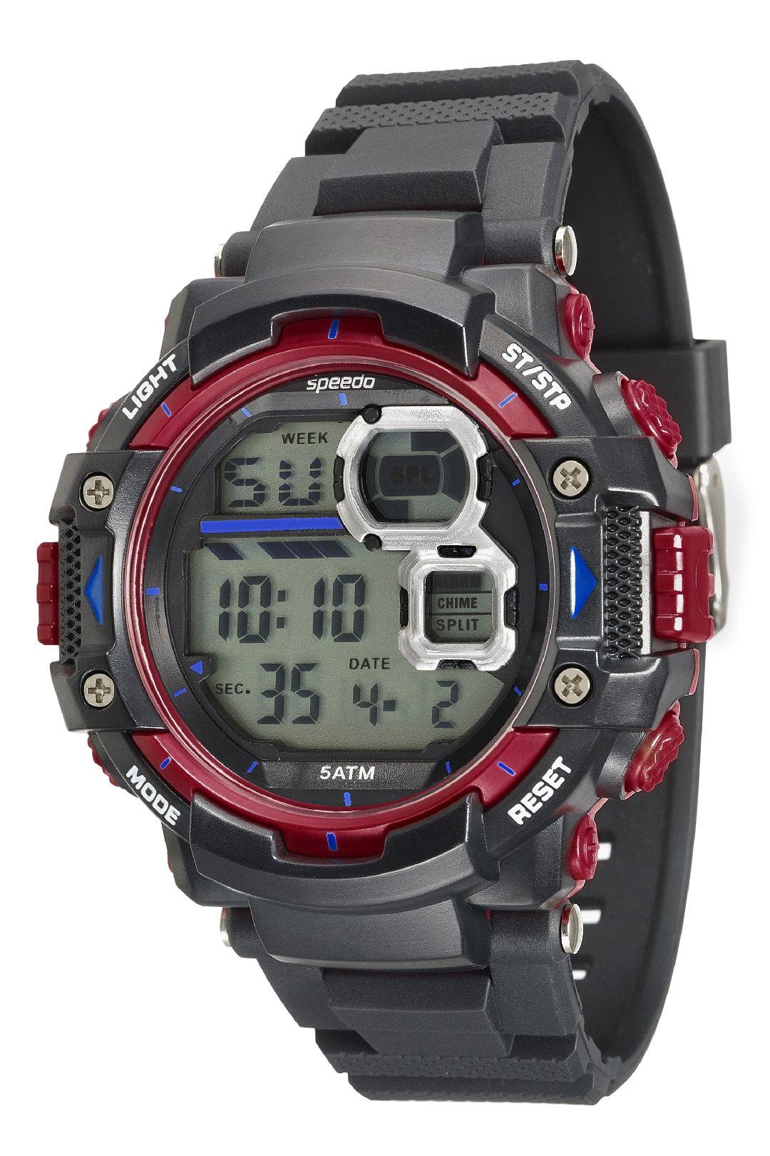 Relógio Masculino Speedo Pulseira de Silicone Preta Fundo LCD Negativo 81117G0EVNP1