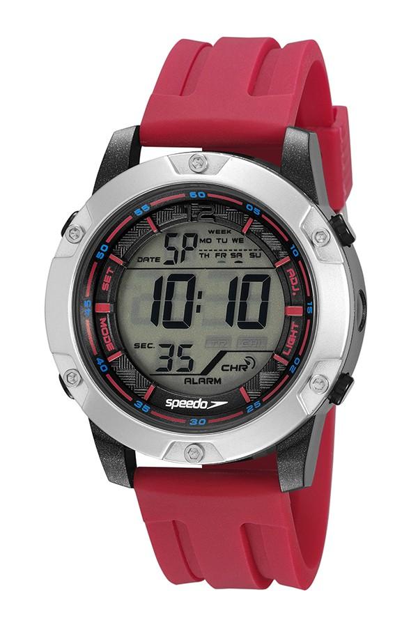 Relógio Masculino Speedo Pulseira de Silicone Vermelha Fundo LCD Positivo 11019G0EVNP2