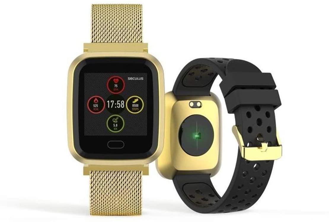 Relógio Smartwatch Seculus Quadrado Dourado Urbano
