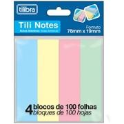 Bloco Adesivo Tili Notes 76x19mm 400 folhas 4 Cores Pastéis - Tilibra