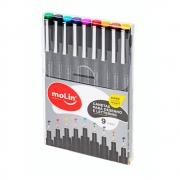Caneta Artística MOLIN Desenho e Lettering com 9 cores - 0,5mm