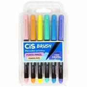 Caneta CIS Brush Pen Aquarelável Estojo c/ 6 Tons Pastel