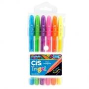 Caneta Gel 6 Cores Trigel Neon Cis