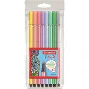 ESTOJO com 8 Canetas STABILO Pen 68 Pastel