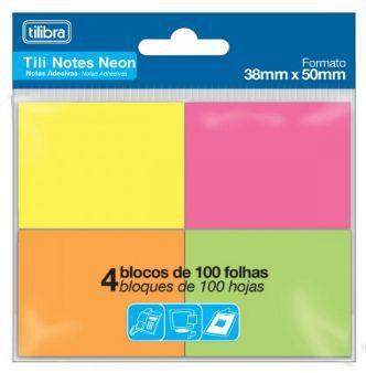 BLOCO ADESIVO TILI NOTES 38X50MM 400 FOLHAS 4 CORES NEON - TILIBRA