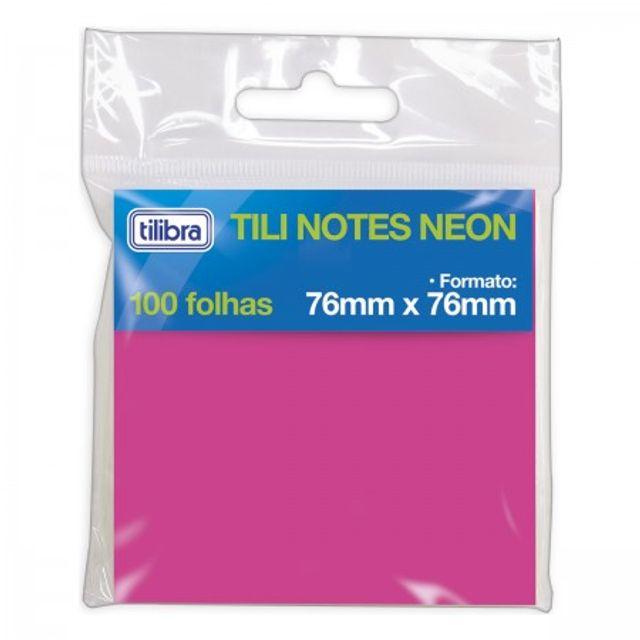 BLOCO ADESIVO TILI NOTES 76X76MM 100 FOLHAS NEON - TILIBRA