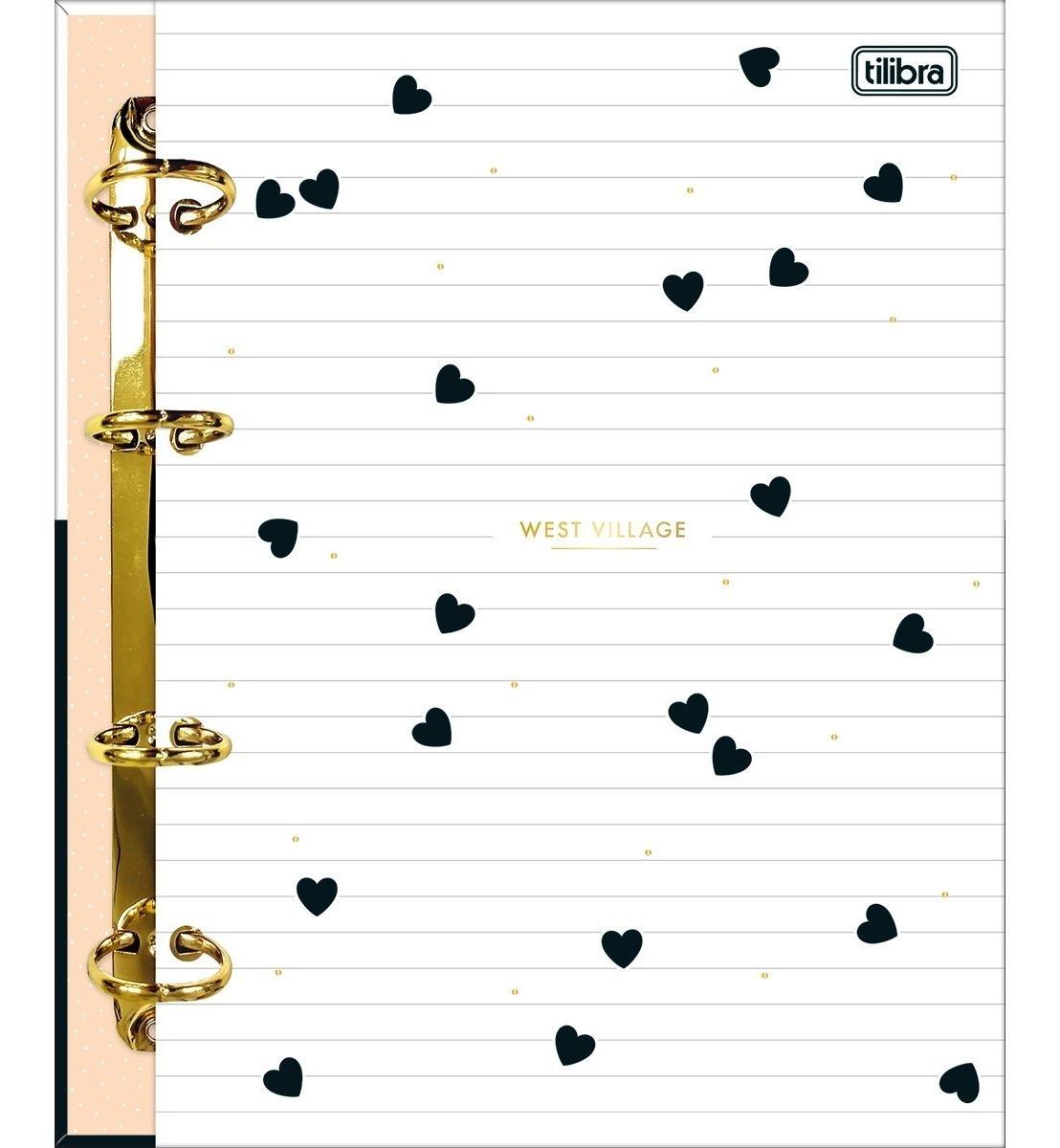 Caderno Argolado Fichário Colegial Cartonado West Village - Tilibra (Coração)