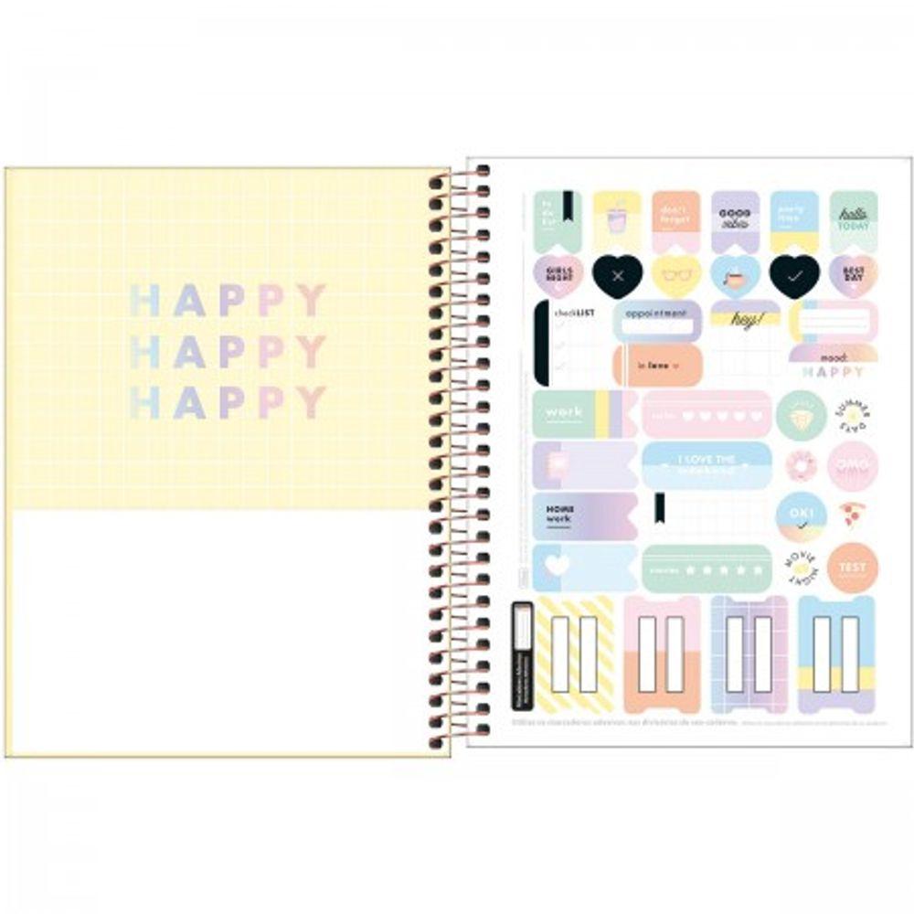 Caderno Espiral Capa Dura Universitário 10 Matérias Happy 160 Folhas GRANDE - Tilibra