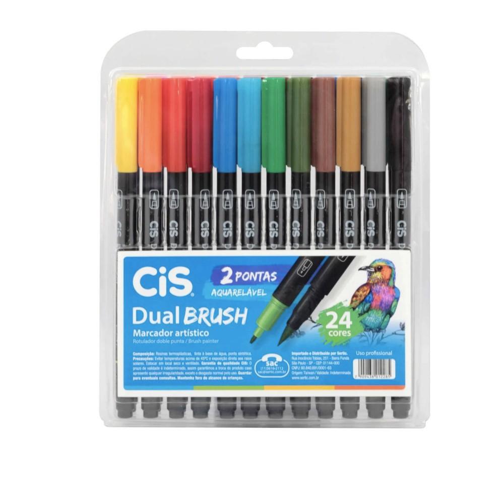 Caneta CIS Dual Brush Aquarelável Estojo com 24 Cores