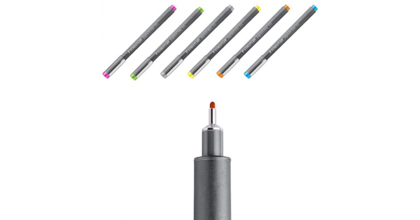 Caneta Colorida STAEDTLER Pigment Liner - Estojo c/ 6 cores - 0.5mm