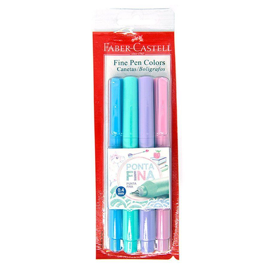 Caneta Fine Pen Colors Pastel FABER-CASTELL Estojo Com 4