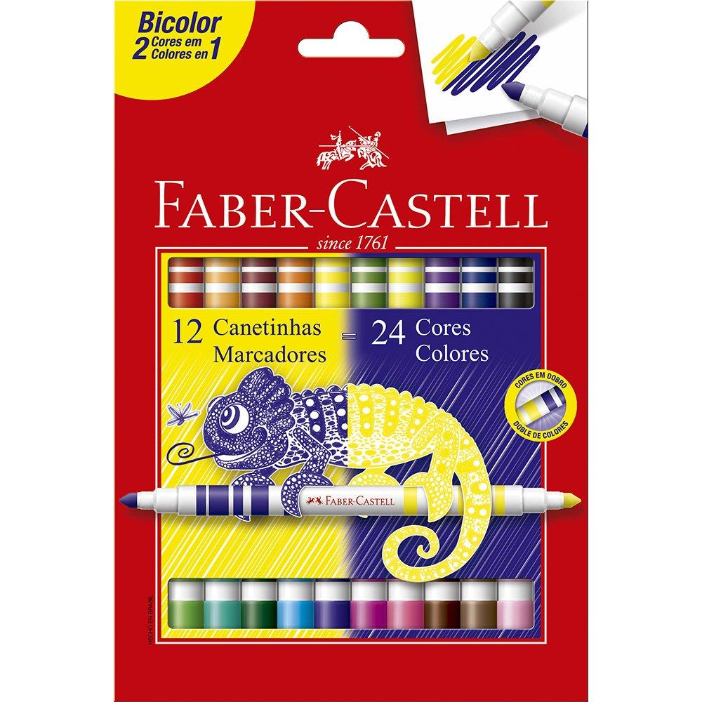 Caneta Hidrográfica FABER-CASTELL Bicolor 12 Unds com 24 Cores
