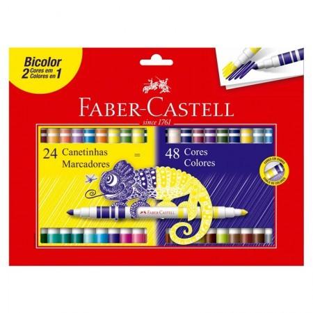 Caneta Hidrográfica FABER-CASTELL Bicolor 24 Unds com 48 Cores