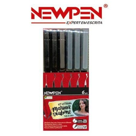 Caneta Pincel Brush Cinza Marina Viabone Com 6 Newpen